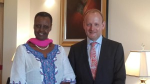 Janet K Museveni, the first lady of Uganda, together with Swedish ambassador Urban Andersson.