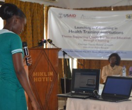 Mercy Adza-Boon, third year midwifery student at Hohoe explains how the eLearning program works