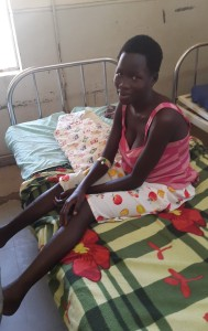 Mother waiting in the maternity ward, Lira Regional Referral Hospital, May 2015