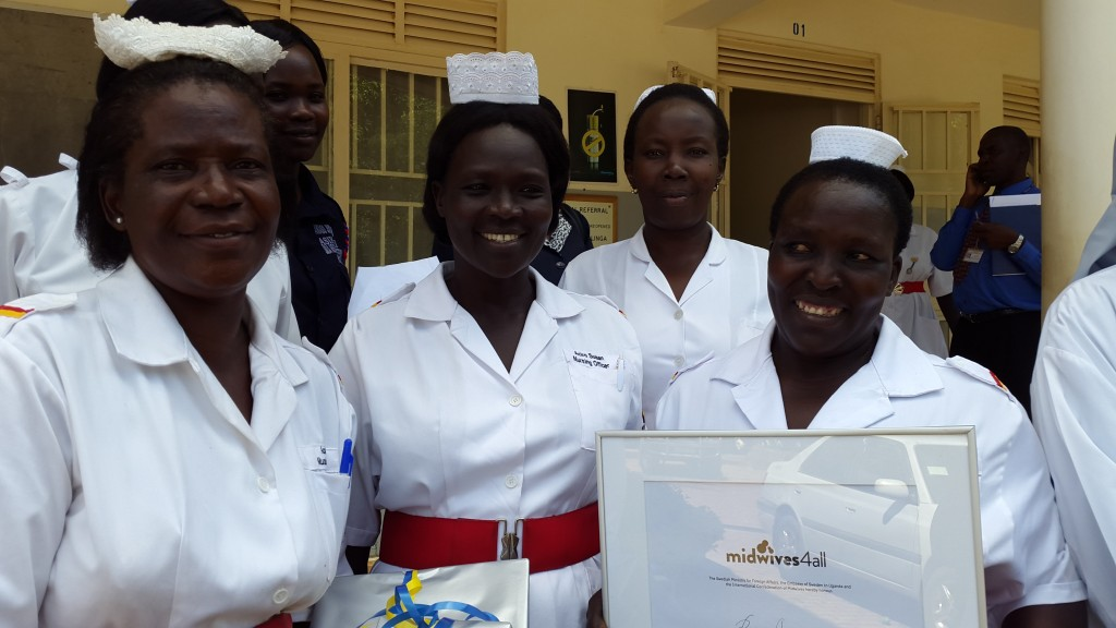 Rose Aciro and her colleagues outside Lira Regional Referral Hospital after receiving the midwives4all award, May 2015.jpg