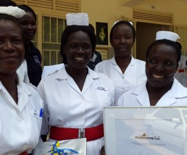 Rose Aciro and her colleagues outside Lira Regional Referral Hospital after receiving the midwives4all award, May 2015