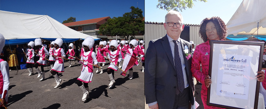 Sweden's Ambassador to Zimbabwe Lars Ronnås and Midwives4All Award recipient Lilian Dzodze